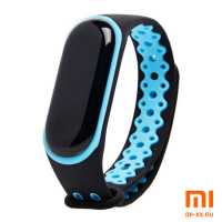 Силиконовый ремешок для Xiaomi Mi Band 3/Mi Band 4 Nike Design (Black/Blue)