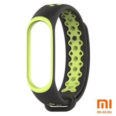 Силиконовый ремешок для Xiaomi Mi Band 3/Mi Band 4 Nike Design (Black/Green)