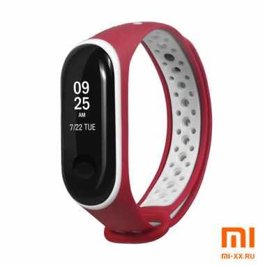 Силиконовый ремешок для Xiaomi Mi Band 3/Mi Band 4 Nike Design (White/Red)