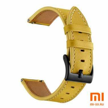 Кожаный ремешок для Amazfit Bip (Yellow)