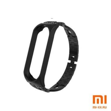 Металлический ремешок на Mi Band 3/4 (Black)