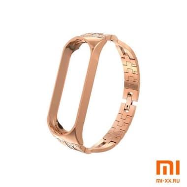 Металлический ремешок на Mi Band 3/4 (Gold)