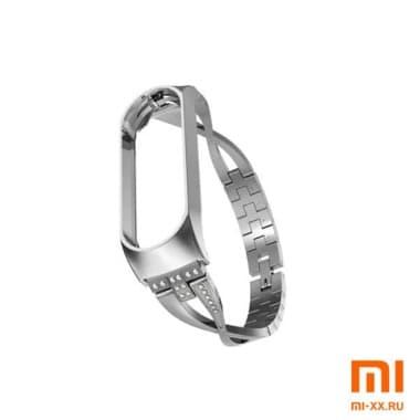 Металлический ремешок на Mi Band 3/4 (Silver)