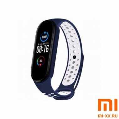 Ремешок Xiaomi Mi Band 5 Nike Design (Blue/White)