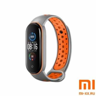 Ремешок Xiaomi Mi Band 5 Nike Design (Grey/Orange)