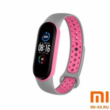 Ремешок Xiaomi Mi Band 5 Nike Design (Grey/Pink)