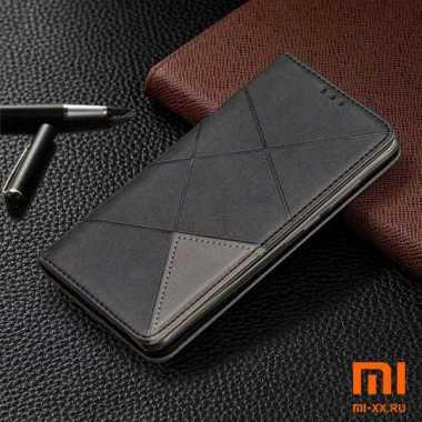 Чехол книжка кожаный для POCO M3 (Black)