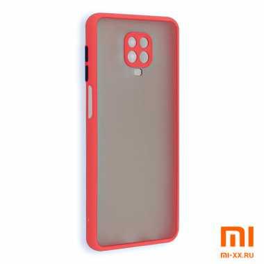 Силиконовый бампер с матовой крышкой для Redmi Note 9 Pro (Red)